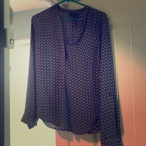 Blouse navy and white